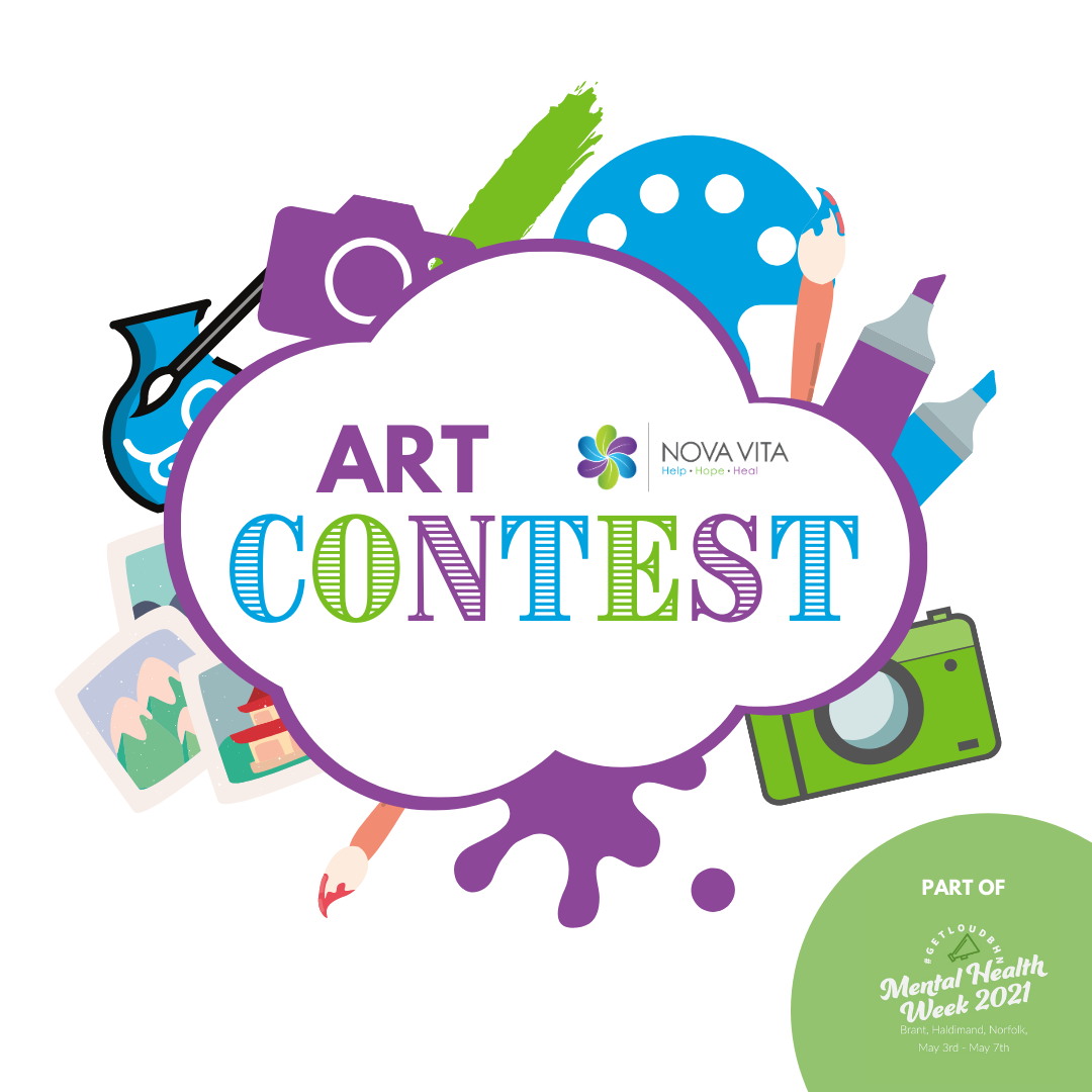 """graphics of art supplies with text """"art contest"""""""